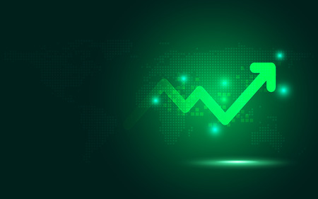 Futuristic green raise arrow chart digital transformation abstract technology background. Big data and business growth currency stock and investment indicator of set trade economy. Vector illustration