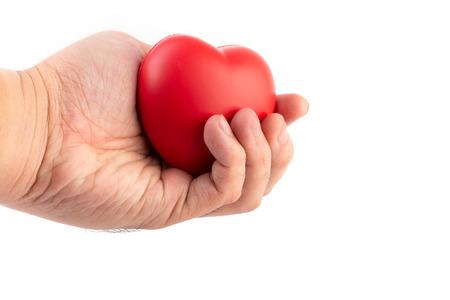 Hand, die für die Spende auf lokalisiertem weißem Hintergrund hält und gibt. Gesundheitswesen und medizinisches Konzept.