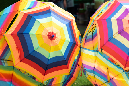 Multi color of opened umbrellas. Colorful group of umbrellas. Object and Fashion concept. Vintage theme.