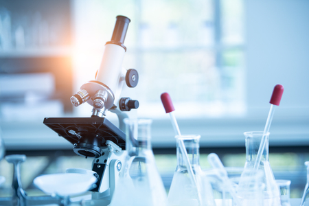 Medical laboratory microscope in chemistry biology lab test. Scientific research and development and healthcare concept background 写真素材