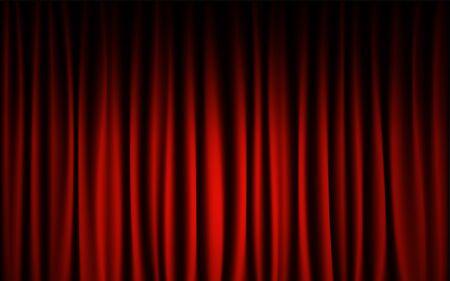 Fondo di spettacolo di concerto della fase del sipario rosso. Concetto astratto e sfondo.