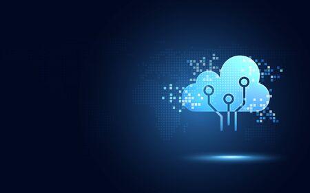 Nuage bleu futuriste avec fond abstrait de nouvelle technologie de transformation numérique de pixel. Intelligence artificielle et concept de mégadonnées. Communication de stockage de données wifi de l'industrie 4.0 et 5g.