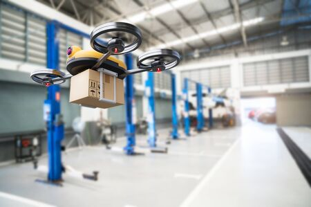 Spare part delivery drone at garage storage in leading automotive car service center for delivering mechanical shipping component part assembling to customer. Modern innovative technology and gadget