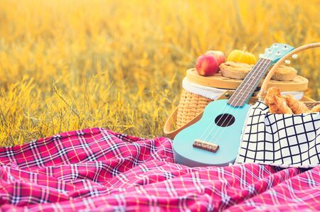 Picnic props in the autumn meadow field. Ukulele guitar, picnic basket, bread and fruits on picnic mat on grass. Object and Travel relaxation concept. Copy space