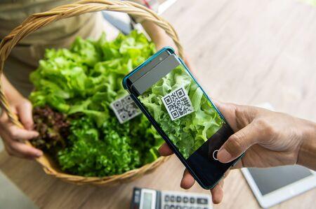 Les clients achètent des légumes biologiques à la ferme hydroponique et paient à l'aide du système de numérisation de code QR dans le magasin du marché alimentaire. Technologie et entreprise futuriste. Portefeuille électronique et concept sans numéraire numérique Banque d'images