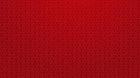 Fondo oriental tradicional chino. Patrón de adorno de nubes rojas sobre fondo rojo. Concepto de arte de año nuevo chino. Gráfico de decoración de patrón de estilo chino. Ilustración de vector. Fondo de pantalla de tamaño 4K