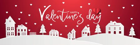 Happy Valentines day with home sweet home town village and snowy background. Red abstract paranoma wallpaper. Digital craft city paper art landscape concept style. Greeting card graphic design vector