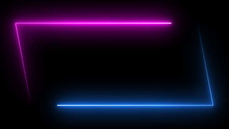 Parallelogram rectangle picture frame with two tone neon color shade motion graphic on isolated black background. Blue and pink light for overlay element. 3D illustration rendering wallpaper backdrop 免版税图像
