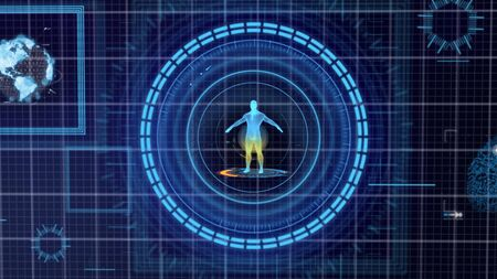 Futuristic blue HUD Medicine Personal Data screen grid display background. Hologram of human body and organ. Health and business technology concept. Digital transformation. 3D illustration rendering