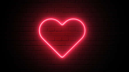 Red heart shape neon light on dark wall backgorund. Abstract and decoration concept. Happy Valentines day element. Sign and symbol electric light glow banner. 3D illustration render. 4K footage video