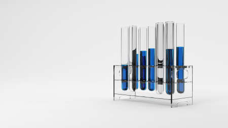 Group of test tube with blue solution sample in laboratory on white background. Science reseaching and nanotechnology biology concept. Selective focus on liquid water drop. 3D illustration rendering