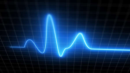 Blue heartbeat monitor EKG line monitor with moving camera processing heartthrob display. Electrocardiogram medical screen graph of heart rhythm on black background with white grid. 3D illustration 免版税图像
