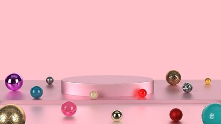 Pink pastel color product stand with colorful marble background. Abstract minimal geometry concept. Studio podium pedestal platform. Exhibition business marketing present stage. 3D illustration render