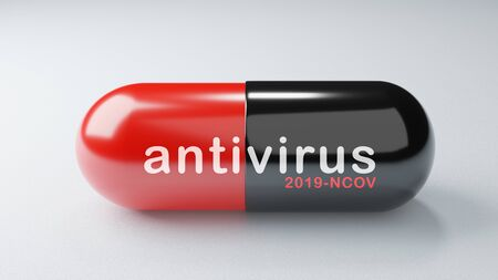 Closeup COVID-19 antiretroviral drugs antivirus capsule on white background. Medicine vaccine concept. Medical science healthcare. Antibiotic immune research. Red Black color. 3D illustration render