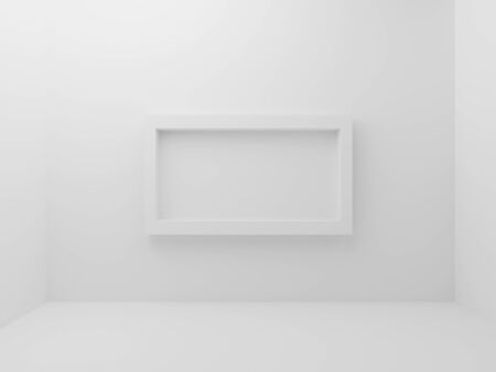White empty room with mockup photo frame border in middle of wall background. Abstract and decorative object concept. Minimal architecture and simplicity theme. 3D illustration render graphic design Stock fotó