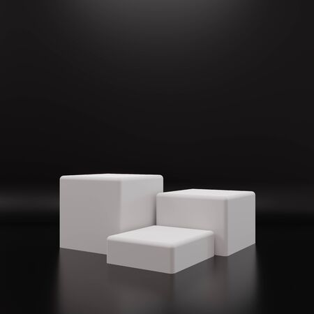 White rectangle cube product showcase table on black background. Abstract minimal geometry concept. Studio podium platform. Exhibition and business presentation stage. 3D illustration render graphic