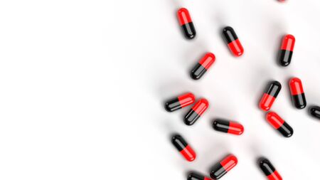 Group of Pills Medicine on white background. Medical research and pharmacy concept. Drug addiction. Health care and prescription treatment. Supple food and vitamin. Copy space. 3D illustration render