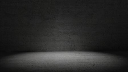 Concrete room in dark light surrounded wall background. Spotlight in middle of cement room. Abstract and wallpaper concept. Interior and Architecture theme. Copy space. 3D illustration rendering