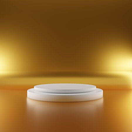 White pedestal stage on gold background with spotlight lighting. Abstract minimal geometry stand concept. Studio podium platform backdrop. Exhibition business presentation. 3D illustration render 免版税图像