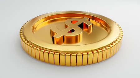 Gold coin with us dollar sign on isolated white background. Money economic and business investment concept. 3D illustration rendering