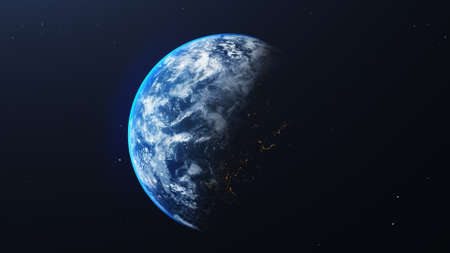 Earth in space view with shining sunrise in universe and galaxy background. Nature  and World environment concept. Science and globe. Fantasy sky atmosphere. 3D illustration render 免版税图像