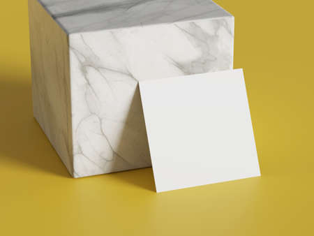 White square shape paper mockup on yellow gold isolated background with marble stone cube. Branding presentation template print. 3D illustration rendering