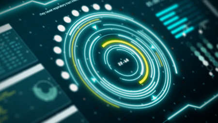 HUD digital transformation user interface computer screen display with pixels background. Blue and yellow abstract hologram holographic technology concept. Sci-fi. 3D illustration rendering 免版税图像