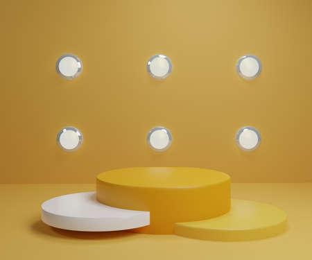 White yellow gold product stand on background. Abstract minimal geometry concept. Studio podium platform theme. Exhibition business market presentation stage. 3D illustration render graphic design 免版税图像