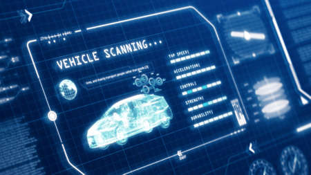 HUD driving car speed user interface computer screen display with pixels background. Blue abstract digital transformation hologram holographic technology concept. Sci-fi. 3D illustration rendering 免版税图像