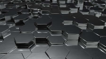 Abstract black metallic honeycomb on random surface level floor background. copy space. 3D illustration rendering