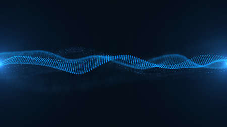 Abstract blue background with waves background. Futuristics technology and science concept. 3D illustration rendering graphic design 免版税图像