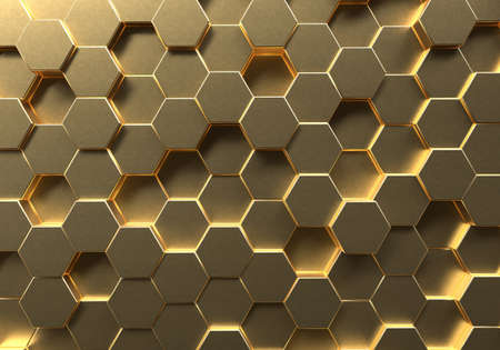 Golden hexagon honeycomb movement background. Gold abstract art and geometric concept. 3D illustration rendering graphic design 免版税图像