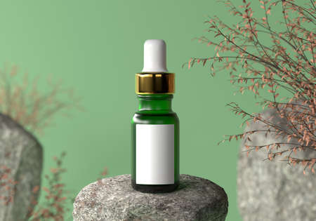 Green serum bottle with gold cap and white blank label for advertising text and logo on natural rock and dry plant in spring or autumn background. Product cosmetic concept. 3D illustration rendering
