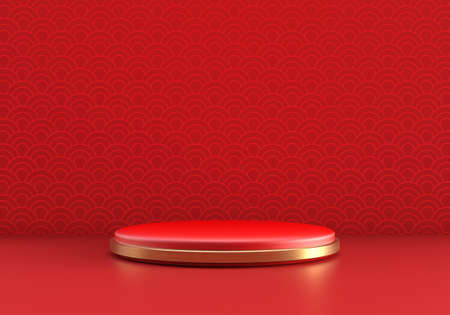 Chinese New Year style red one podium product showcase with gold circular ring shape and China pattern scene background. Holiday traditional festival concept. 3D illustration rendering graphic design