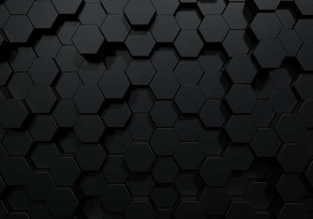 Black hexagon honeycomb shapes matte surface moving up down randomly. Abstract modern design background concept. 3D illustration rendering graphic design