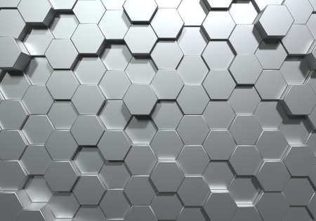 Silver hexagon honeycomb movement background. Grey abstract art and geometric concept. 3D illustration rendering graphic design