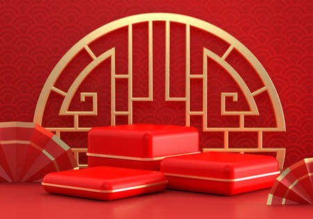 Chinese New Year red modern style three cube podium product showcase with golden ring and China pattern fans background. Holiday traditional festival concept. 3D illustration render graphic design