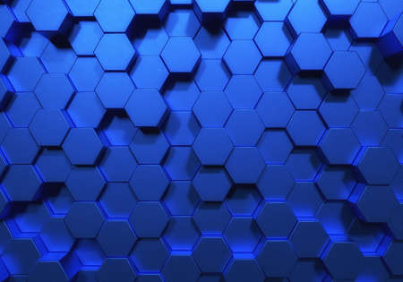 Blue hexagon honeycomb shapes matte surface moving up down randomly. Abstract modern style design background concept. 3D illustration rendering graphic design