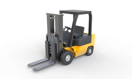 Yellow forklift with empty fork parking on white background. Transportation and Industrial concept. Shipment and delivery storage. 3D illustration rendering