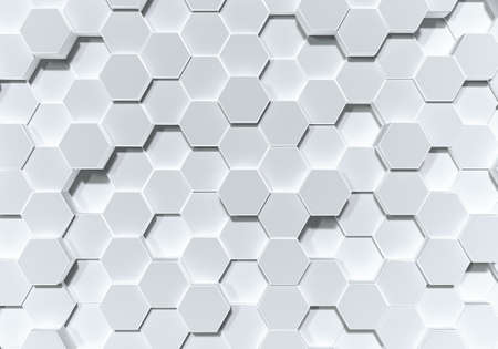 White hexagon honeycomb shape moving up down randomly. Abstract modern design background concept. Top view. 3D illustration rendering Banco de Imagens