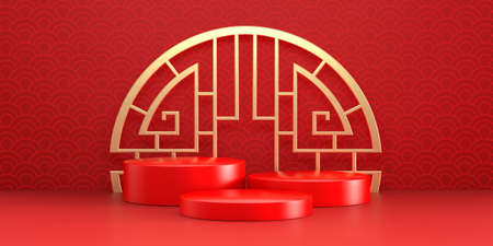 Chinese New Year red modern style three podium product showcase with golden emblem and China pattern background. Holiday traditional festival banner concept. 3D illustration render graphic design