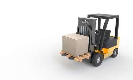 Yellow forklift moving and lifting up cardboard box pallet on white background. Transportation and Industrial concept. Shipment and delivery storage. Copy space. 3D illustration rendering