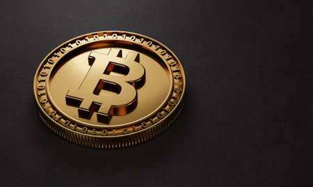 Closeup golden metallic Bitcoin cryptocurrency on black leather background. Business economy and digital investment concept. Close up coin on floor. 3D illustration rendering