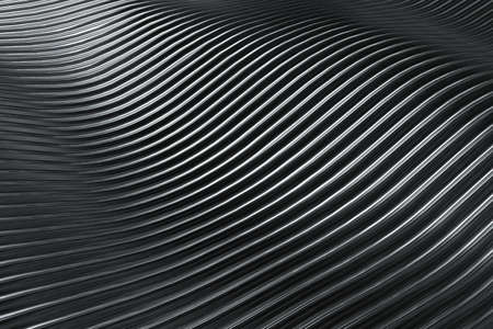 3D rendering closeup abstract black silver and white stripe slicing wavy background. Minimalism illustration concept. Graphic design wallpaper and backdrop 免版税图像