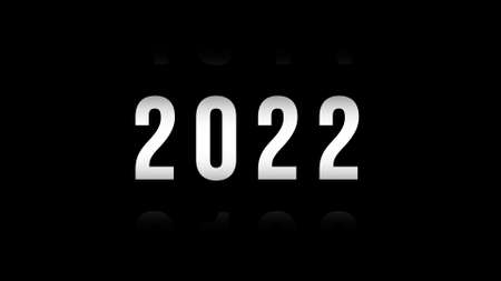 2022 New year number on black isolated background. Font background and typography concept. 免版税图像