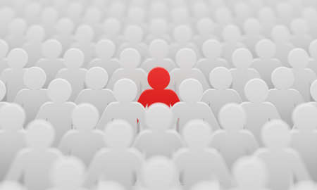 Red man color figurine among crowd white men people background. Social lifestyle and business competition and strange person concept. Human character symbol theme. 3D illustration rendering. 免版税图像