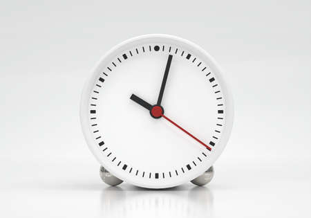 Clock face with hour minute and second hands about 10 o clock on white background. Object and equipment concept. Lately time theme. 3D illustration render graphic design 免版税图像