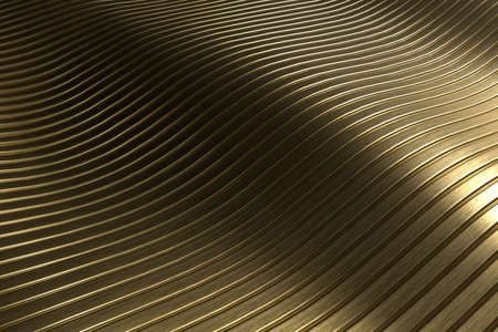 3D rendering closeup abstract gold slicing wavy background. Minimalism illustration concept. Graphic design wallpaper and backdrop 免版税图像
