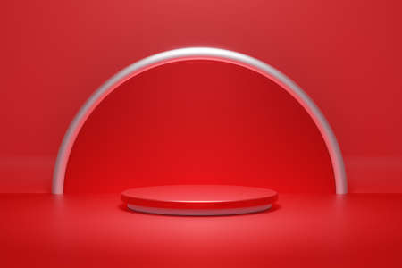 Red product podium stage and silver ring and spot light background. Abstract minimal geometry concept. Exhibition and business marketing presentation. 3D illustration rendering graphic design 免版税图像