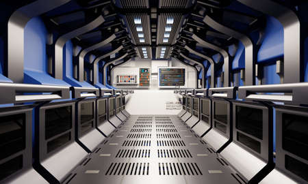 Spaceship hallway and secret basement corridor interior with blue and silver grey color background. Modern technology and astrology science concept. 3D illustration rendering graphic design